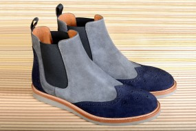 GREY & NAVY BLUE SUEDE  - Casual  $i