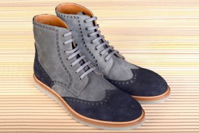 Casual  GREY & NAVY BLUE SUEDE